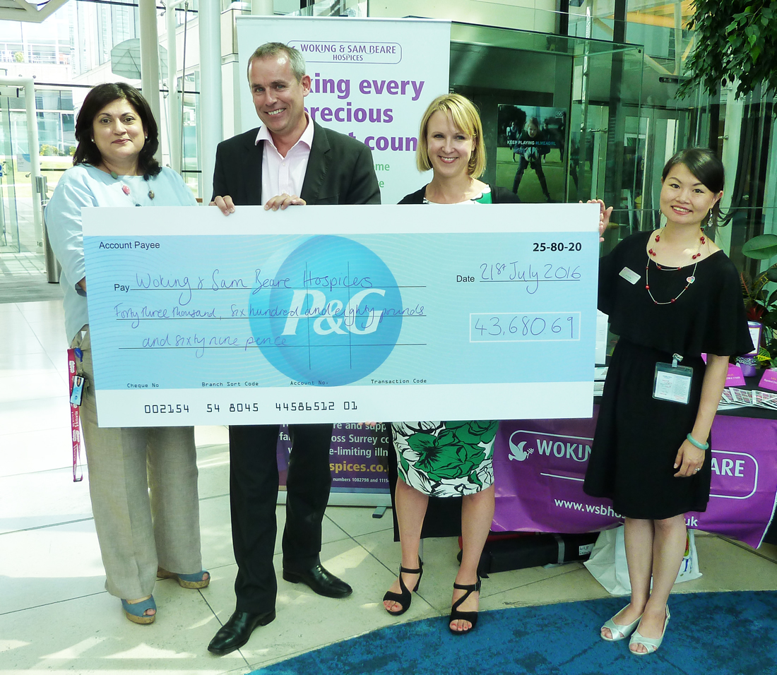 A cheque for £42,680 has been presented to Woking and Sam Beare Hospices by Procter & Gamble (P&G) based in Brooklands Weybridge.