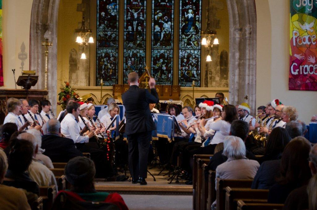 The Bourne Concert Band of Woking playing at Christmas Concert
