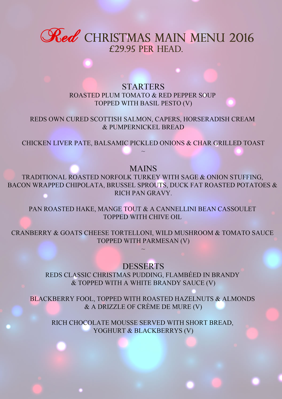 Christmas Menu at Red Weybridge includes Roast Turkey or alternative of fish and vegetarian mains dishes