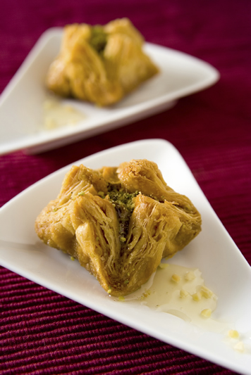 Lebanese Cuisine at Meejana Restaurant & Bar Weybridge Surrey & London - Dishes include Baklawa Flowers