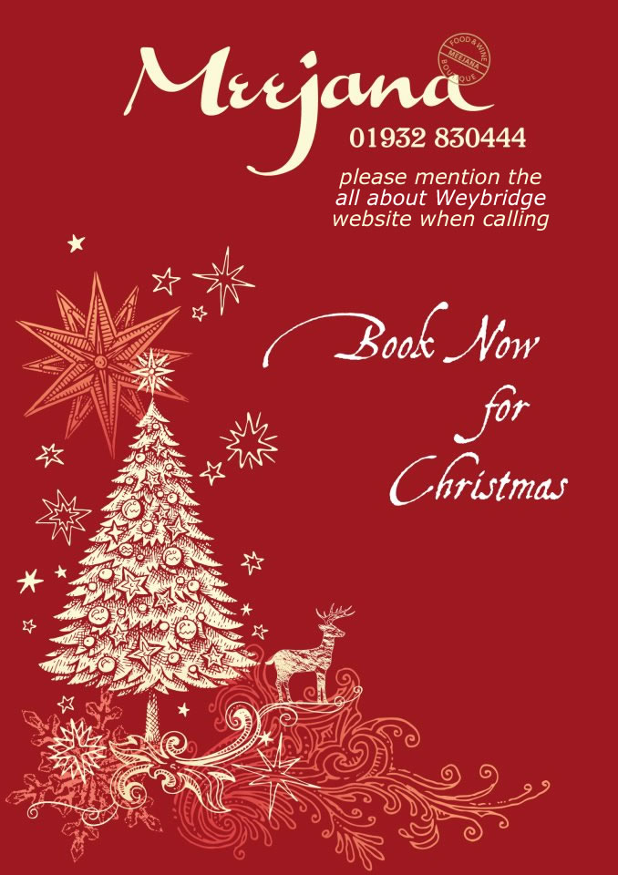 Book Now For Christmas at Meejana Restaurant Weybridge Surrey