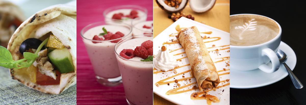 Wraps, Smoothies, Crepes & Coffee are on the light lunch menu at Meejana Lebanese Restaurant & Bar Weybridge Surrey & London