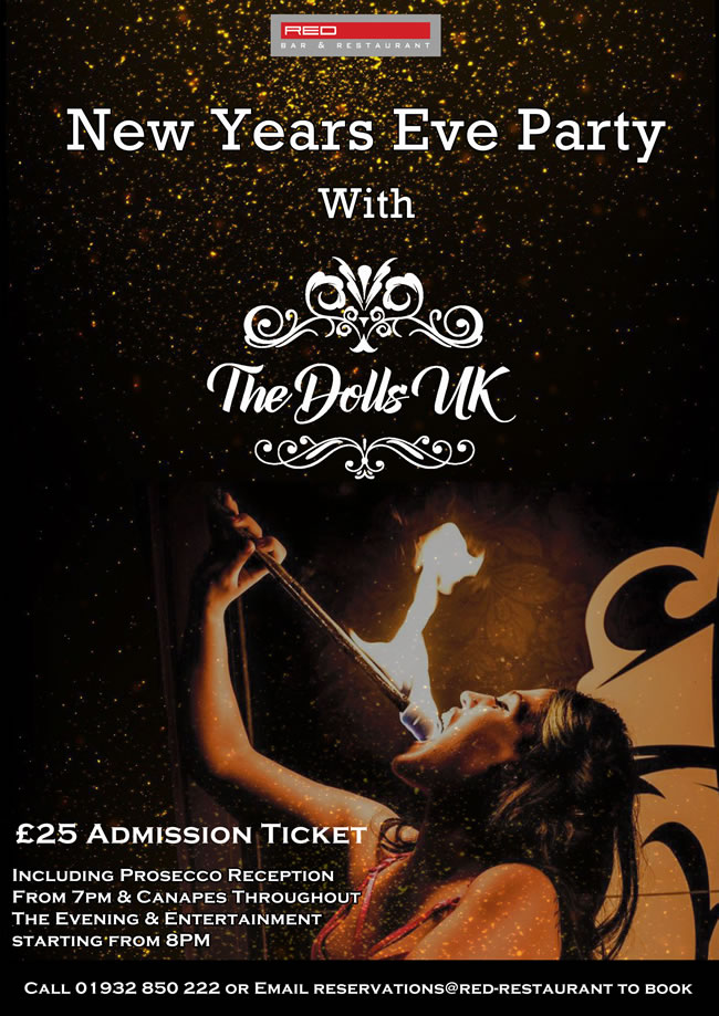 New Years Eve Party at Red Bar & Restaurant Weybridge Surrey with The Dolls UK