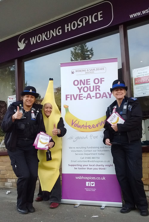 Mary Morgan, the Hospices' resident banana, was promoting her 'One of Your Five-a-Day' campaign at the Guildford Charity shop