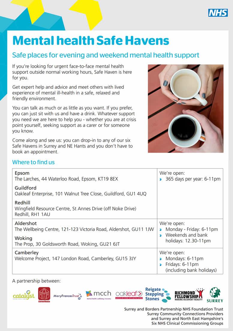 Woking, Guildford, Epsom, Aldershot, Redhill, Camberley Surrey Mental Health Safe Havens