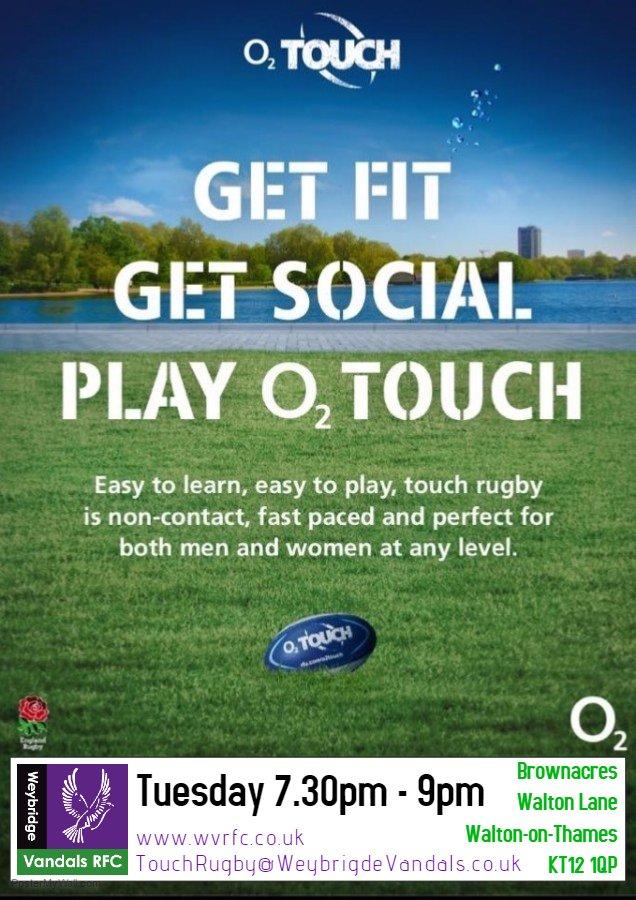O2 Touch Rugby in Weybridge Surrey- Open to All Abilities, Men & Women 16 Years +