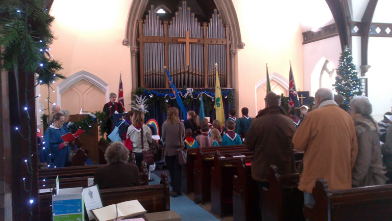 Christmas parade and Gift Service at United Reformed Church Queens Road Weybridge Surrey