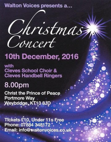 Walton Voices Christmas Concert in Weybridge, with Cleves School Choir and Cleves Handbell Ringers