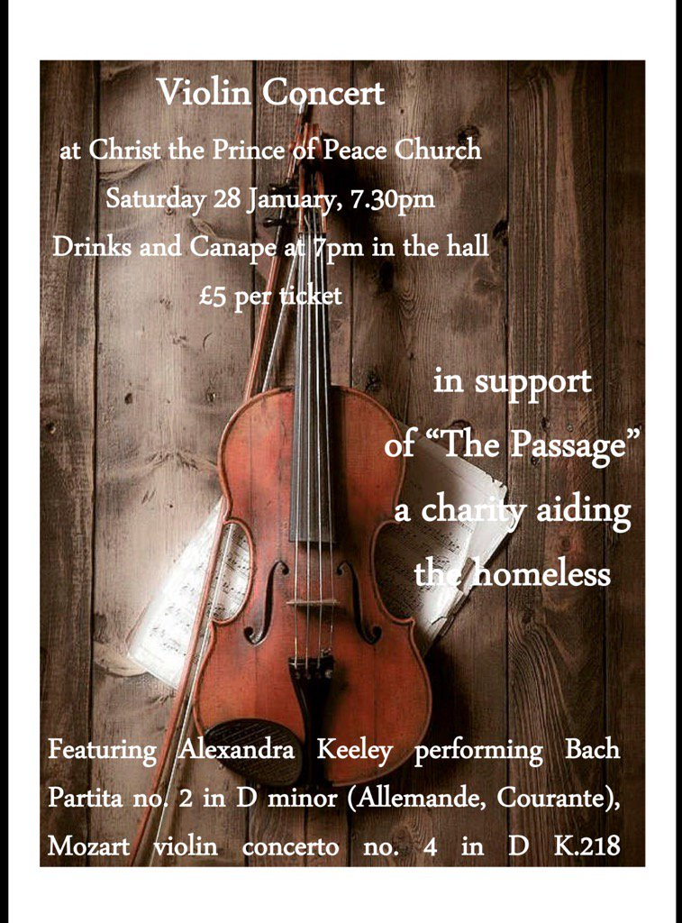 Violin Concert in Weybridge by Alexandra Keeley in Support of The Passage Charity Aiding The Homeless