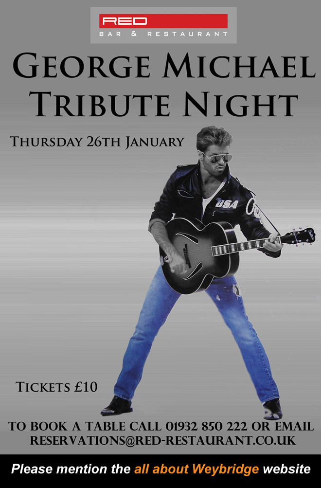 Tribute to the passing of George Michael. Tickets for Weybridge Elmbridge event on sale now.!