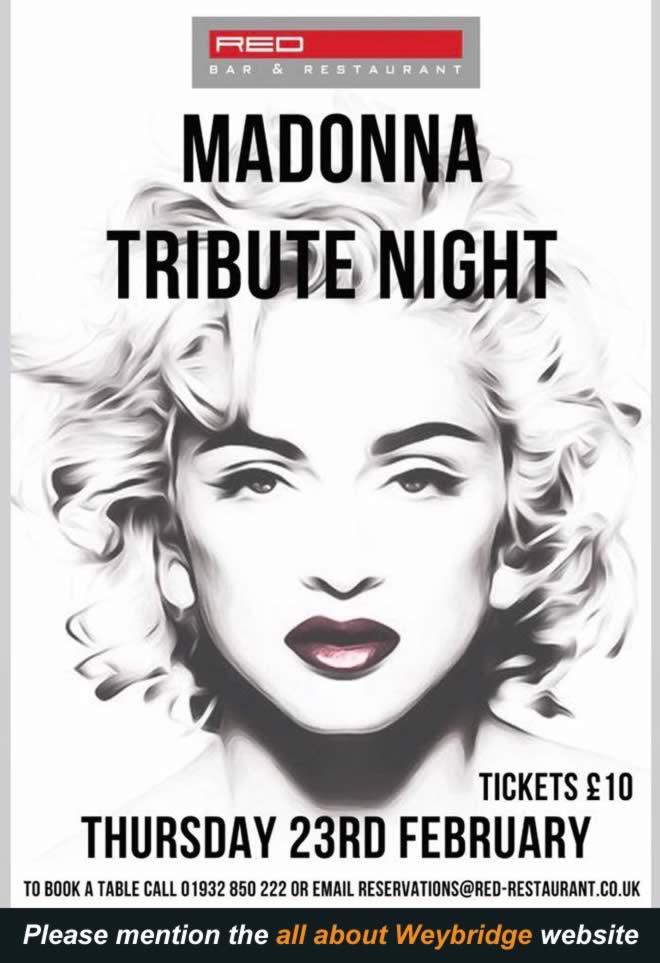 Madonna Tribute Night at Red Bar & Restaurant Queens Road Weybridge Surrey