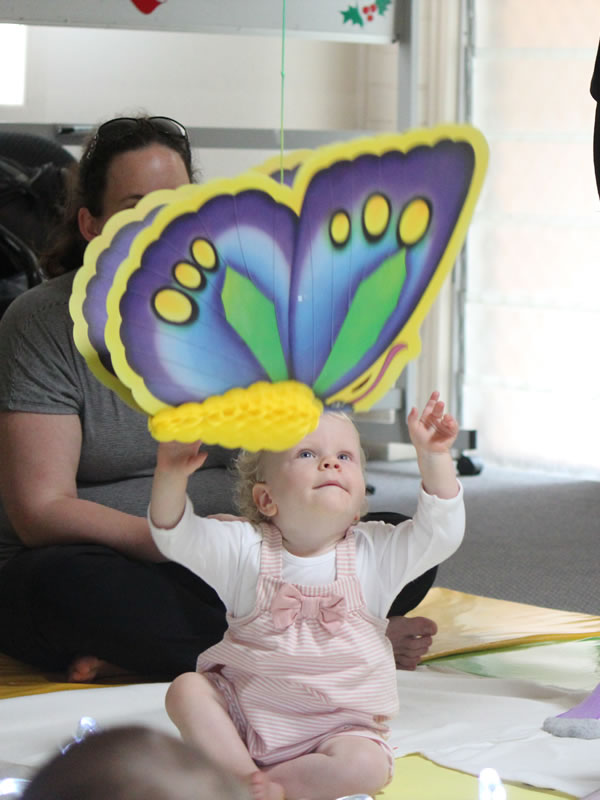 Movement and exercise, singing, rhymes and games at Baby Sensory Classes Oatlands Weybridge, Ottershaw and Staines Surrey