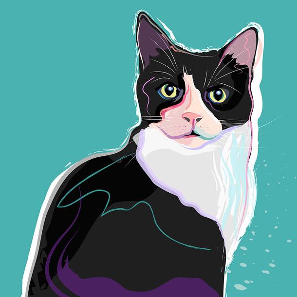 Contemporary Pet Portrait Painting - Cat