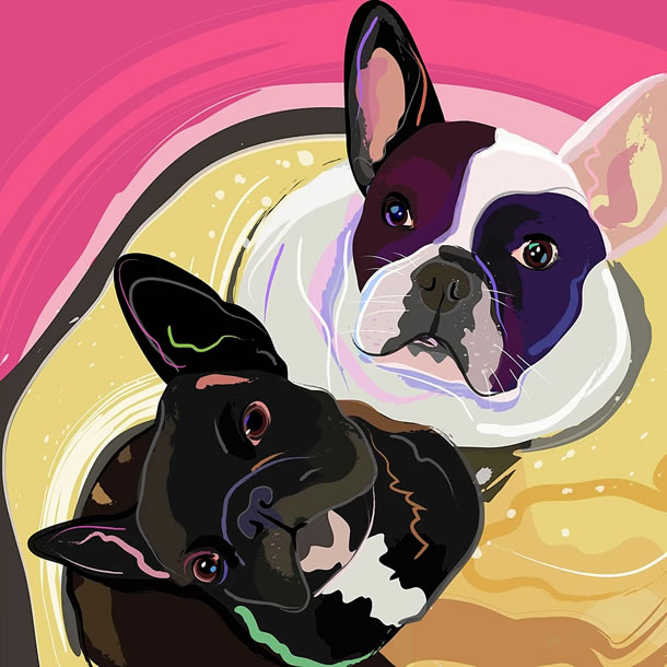 modern colourful portrait painting of dogs by Weybridge Surrey Artist Katie Bell
