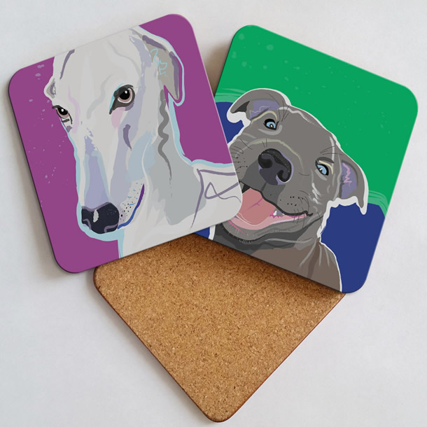 Gifts - Coasters - Prints of Dog & Cat Portrait Commission Paintings by Weybridge Artist Katie Bell