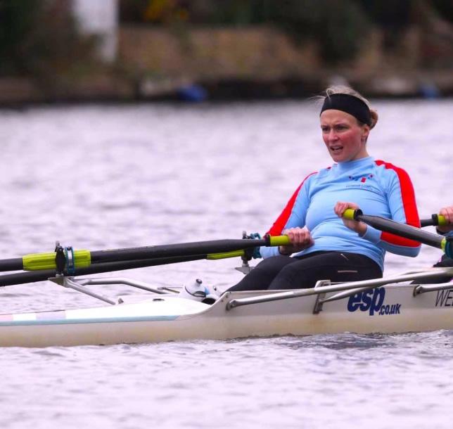Racing Double Sculls at Weybridge Ladies Amateur Rowing Club Walton Lane