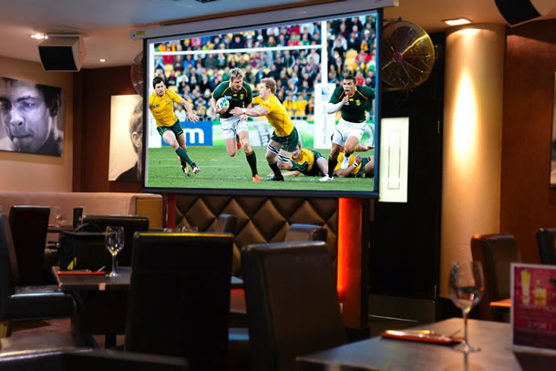 Watch rugby, football & other sports on big screen at Red Bar & Restaurant Weybridge Surrey