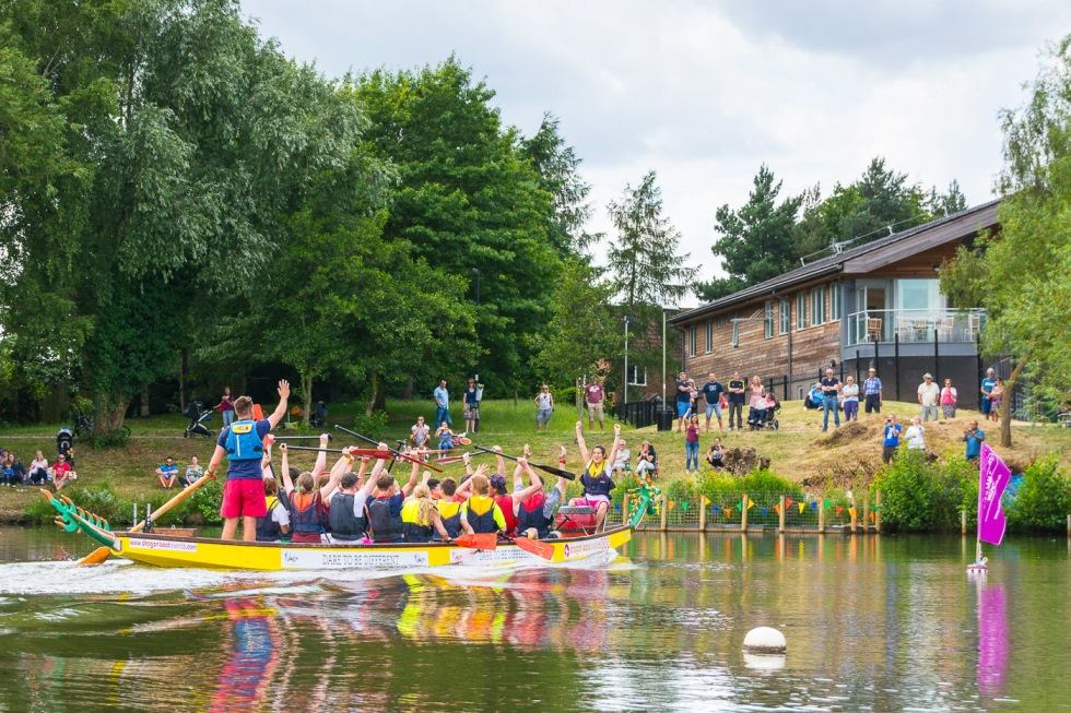 Dragon Boat Race at Goldsworth Park - Charity event for Woking & Sam Beare Weybridge Hospices Surrey