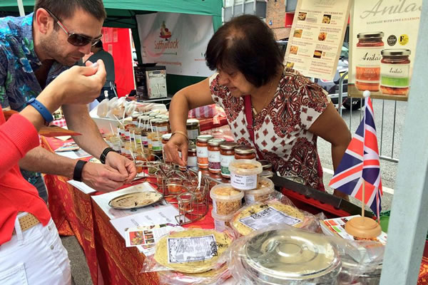 Food Stalls at Monument Green Weybridge Market included Anila's Sauces
