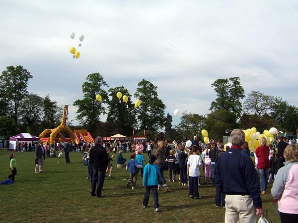 Balloon Release from previous year at Oatlands Village Fayre Weybridge Surrey