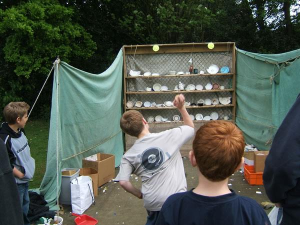 Plate Smashing Fun for Children at Oatlands Village Fayre Weybridge Surrey