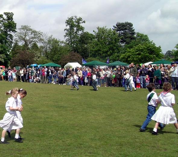 Country Dancing Display by Childen from Oatlands School at Village Fayre Weybridge Elmbridge