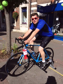 Tom Eastwood of Weybridge Sports cycling for Beating Bowel Cancer at Prudential RideLondon-Surrey 100 In Weybridge