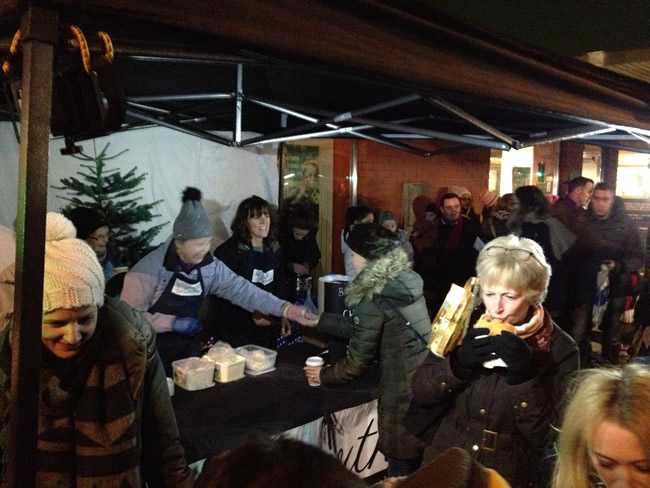 Christmas Food Market Stall in Weybridge Town Centre - Late Night Shopping Night