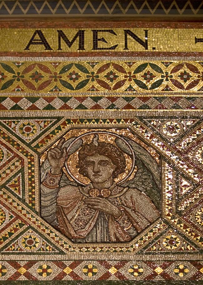 Mosaic Tiles repair - restoration at St James Church Weybridge Surrey