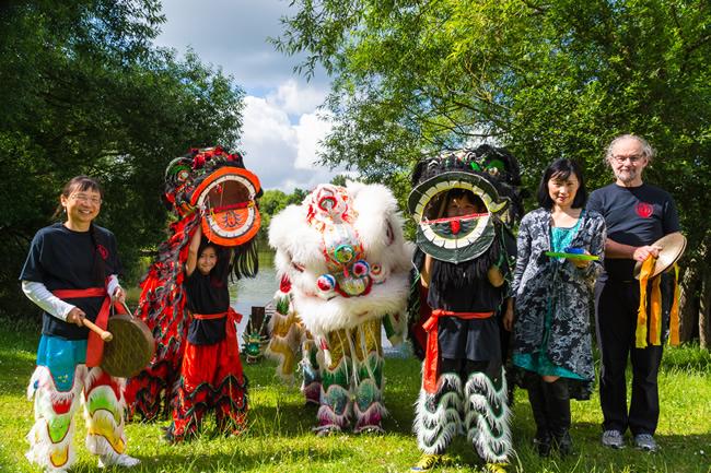 Chinese Dragon Awakening Ceremony - Dragon Boat Race & Fun Day at Goldsworth Park - at Woking & Sam Beare Weybridge Hospices Event