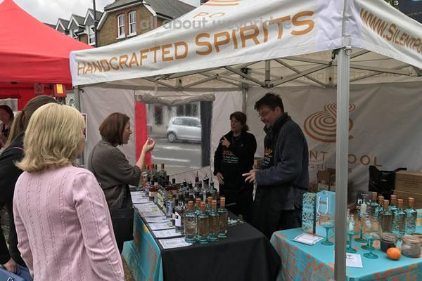 Silent Pool Gin Stall at Weybridge Green Artisan Market Elmridge Surrey