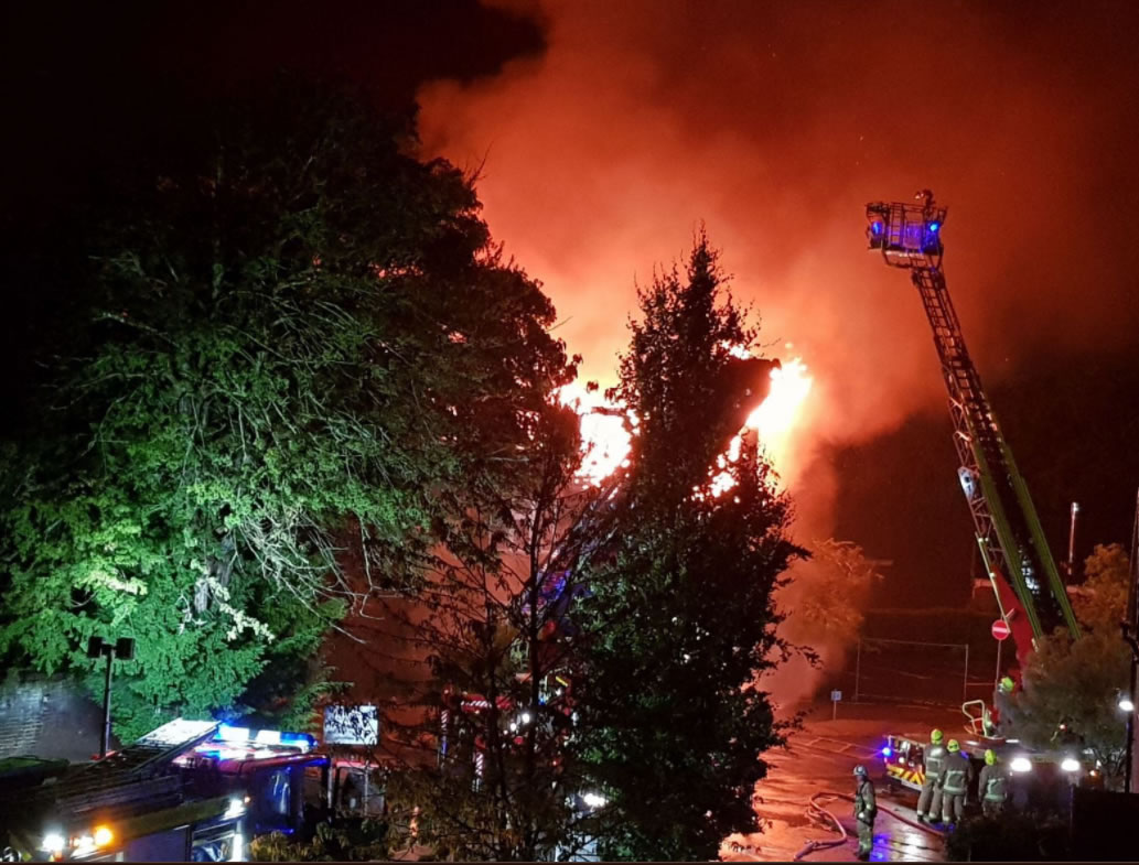 Weybridge Surrey NHS Walk-In Centre , GP Surgeries, Pharmacy & Community Hospital Destroyed by Fire July 2017