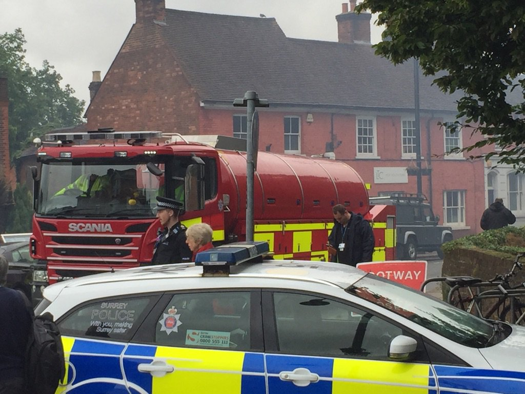 Weybridge Health Centre Fire - Emergency Services - Road Closure