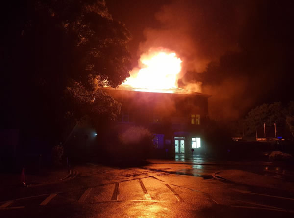 NHS Walk-In Centre , GP Surgeries, Pharmacy & Community Hospital in Weybridge Surrey Destroyed by Fire July 2017