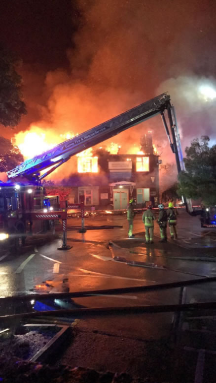 Emergency Fire Services at Weybridge Community Hospital and Walk-In Centre Fire July 2017