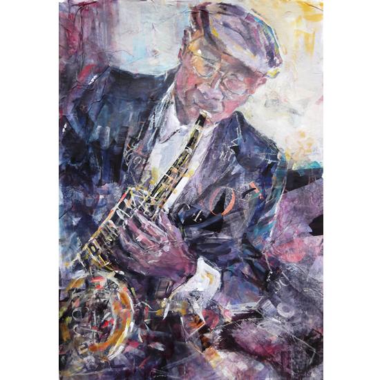 Art -Painting of Sax Player at Jazz Club by Woking Surrey Artist Sera Knight