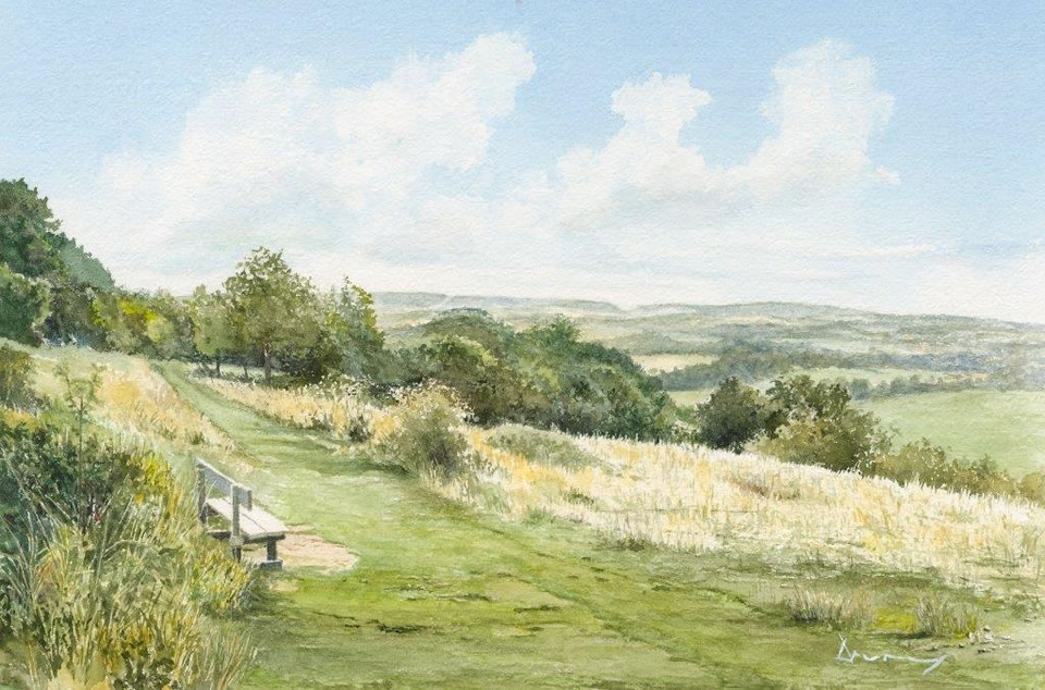 Newlands Corner Guildford painting - Exhibition by North Surrey Artists at Woking Surrey Gallery