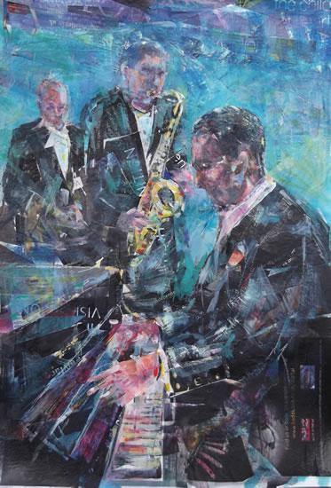 Jazz Music Painting - Piano Saxophone & Drums Trio - Surrey Artist Sera Knight