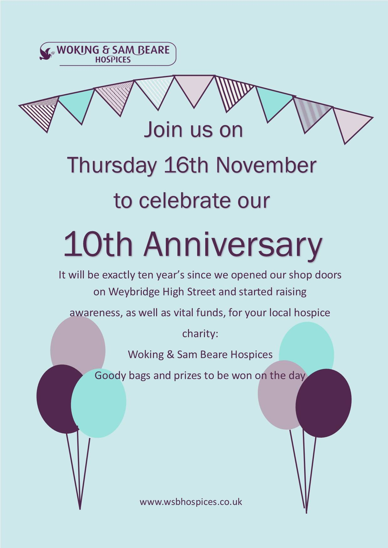 Visit our Weybridge shops to help them celebrate their 10th anniversary both shops opened their doors in 2007 !