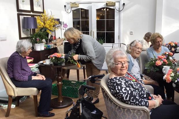 Flower Arranging Activites For Senior Residents at Silvermere Care Home Cobham Weybridge Surrey