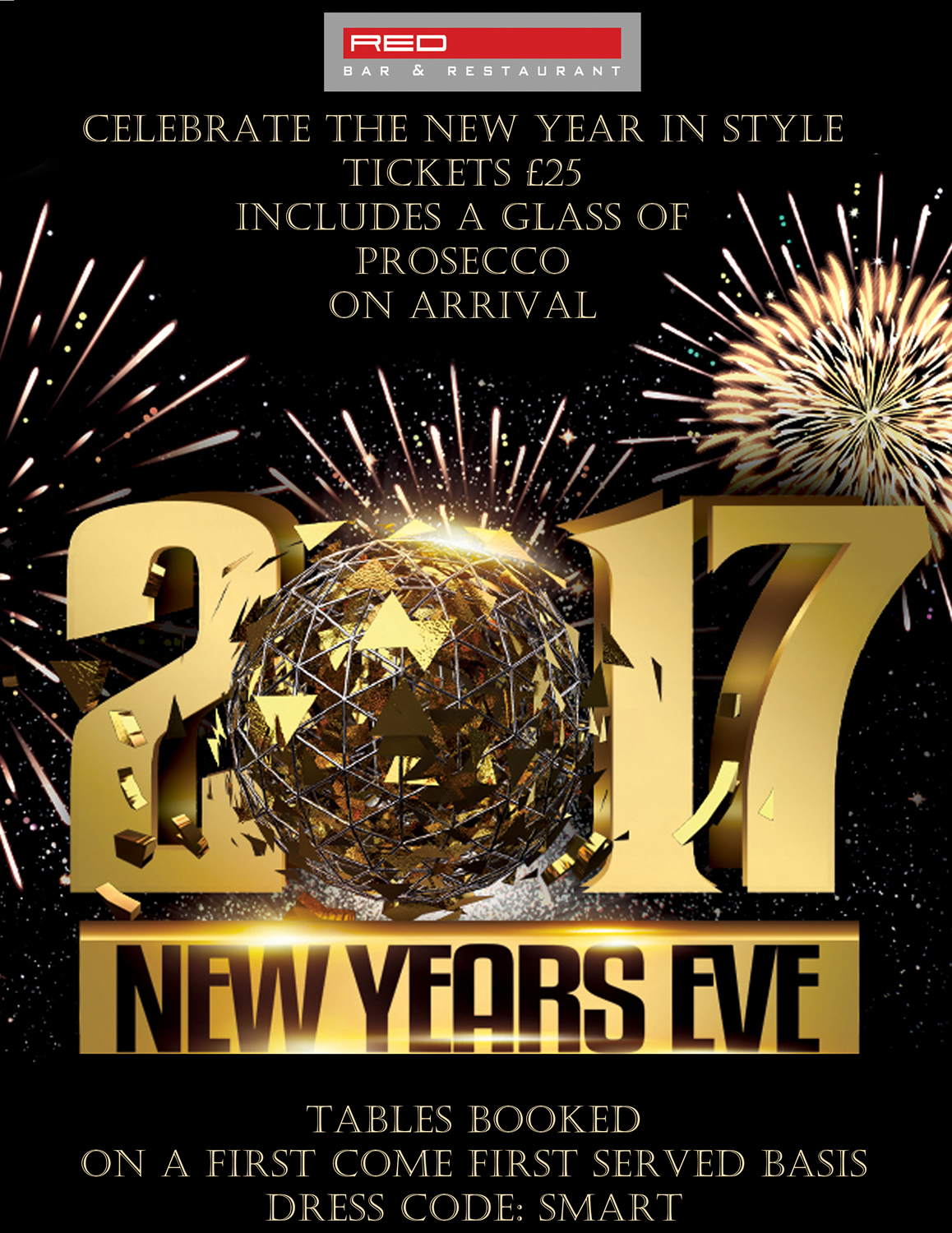 New Years Eve Party at Red Bar & Restaurant - We promise to provide an outstanding party as a thank you for your loyal custom throughout the year!