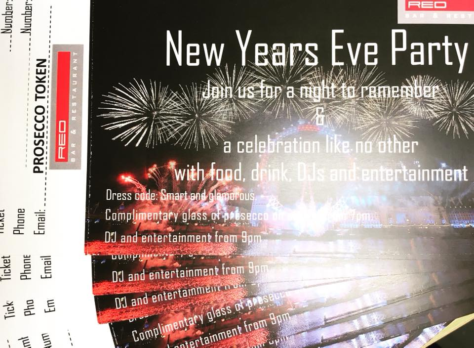 New Years Eve Party Tickets for Red Bar & Restaurant Weybridge Surrey