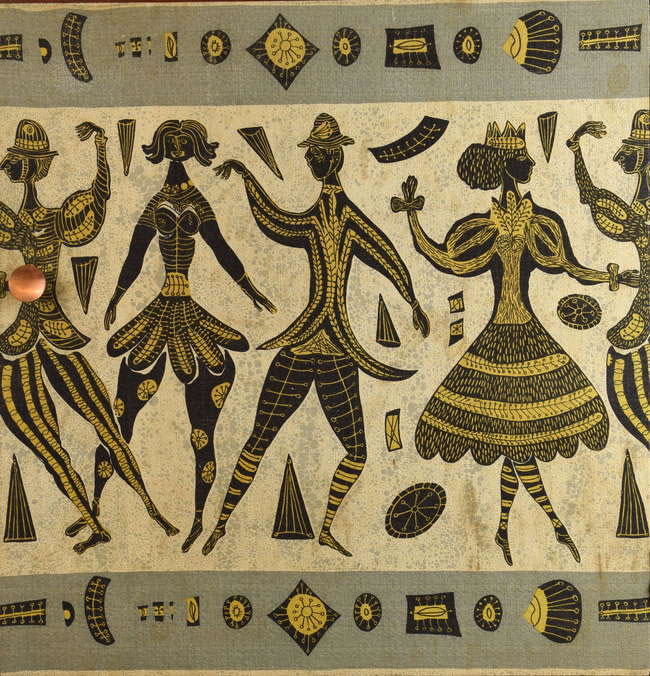 Auction - Mid 20th century printed textile laid down on board, depicting figures in grey black and yellow,