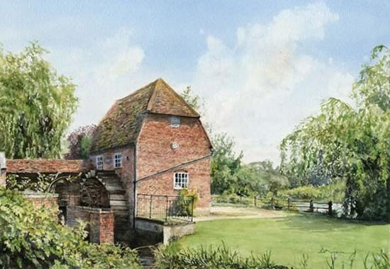 Cobham Mill Painting by Woking Surrey Artist David Drury