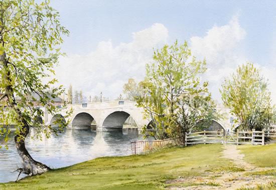 River Thames at Chertsey Surrey - Painting by Artist David Drury of Byfleet Art Group