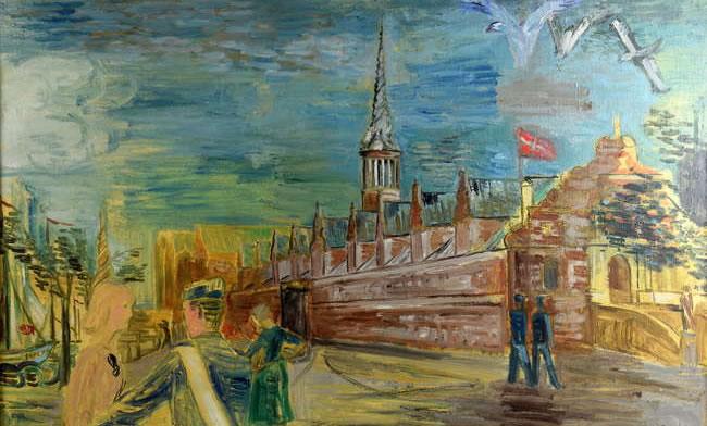 Surrey Art Auction - Charles Crodel German Artist 1894-1973 - Copenhagen harbour scene - oil on canvas,