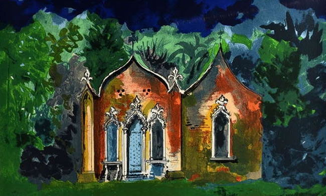 Surrey Art Auction - John Piper British 1903-1992 - The Red House Painswick Gloucestershire Limited edition screenprint in colours,