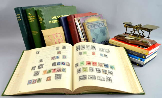 Surrey Auction - collection of stamp albums and assorted books about stamps and postmarks