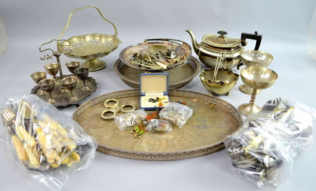 Surrey Auction - silver plate including cutlery and trays, and a small quantity of costume jewellery