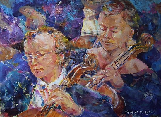 The Cellists - Painting by Woking Surrey Artist Sera Knight